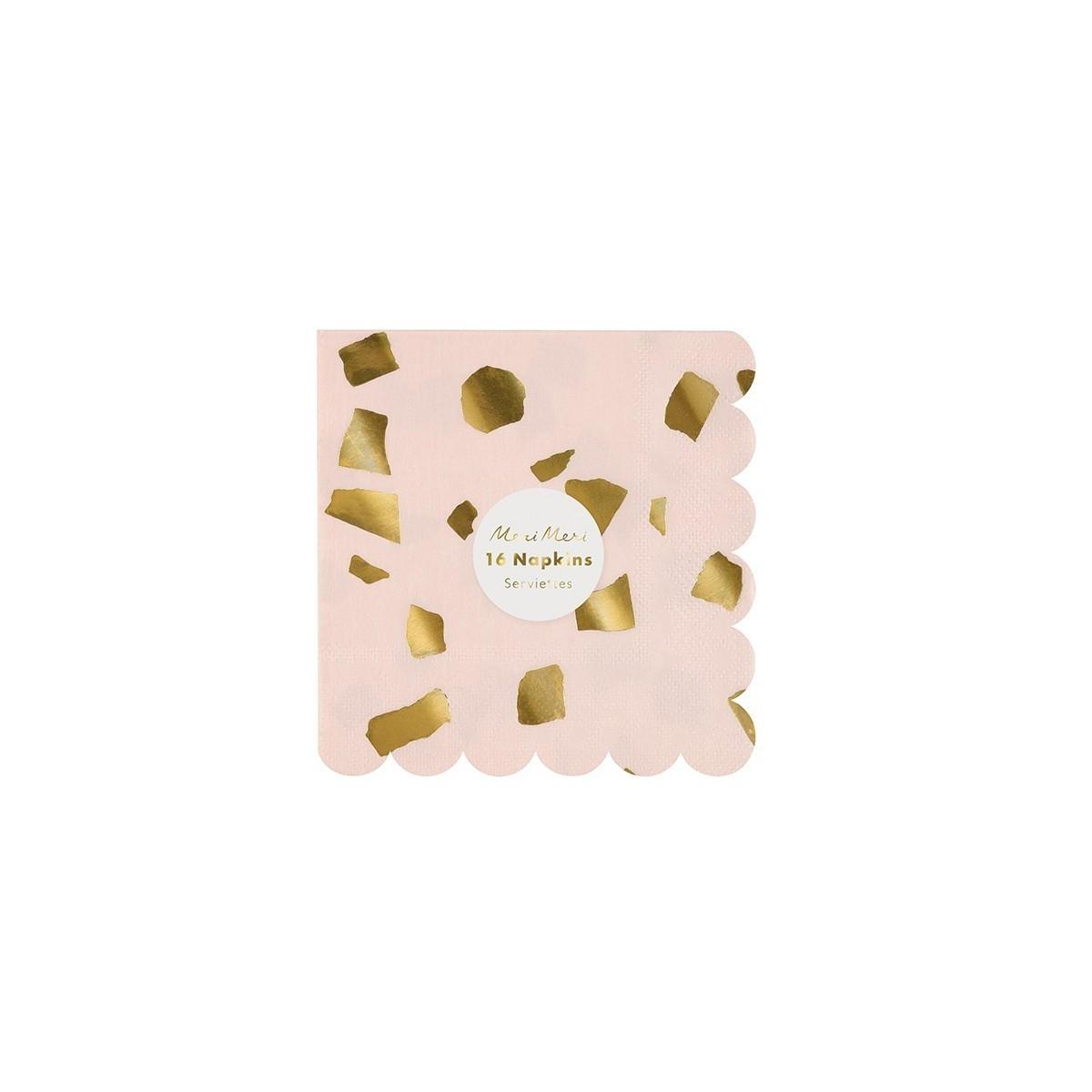 Serviettes de table PM confettis rose