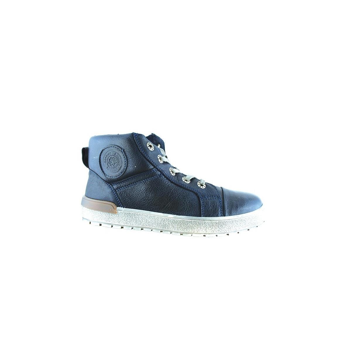 Chaussure montante lacet cuir marine