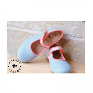 Babies Bulle cuir bleu ciel/ argent