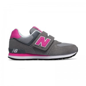 Basket velcros gris/rose