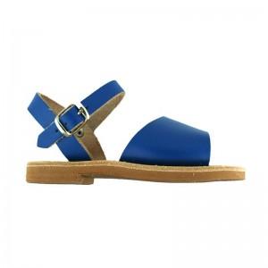 Sandales grecques Delos cuir bleu roi