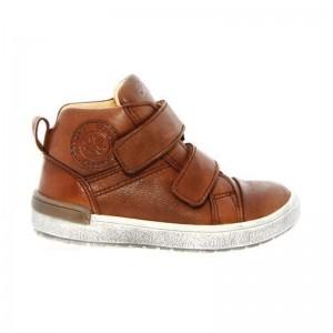 Chaussures Acebos montante 3 velcros cuir cognac