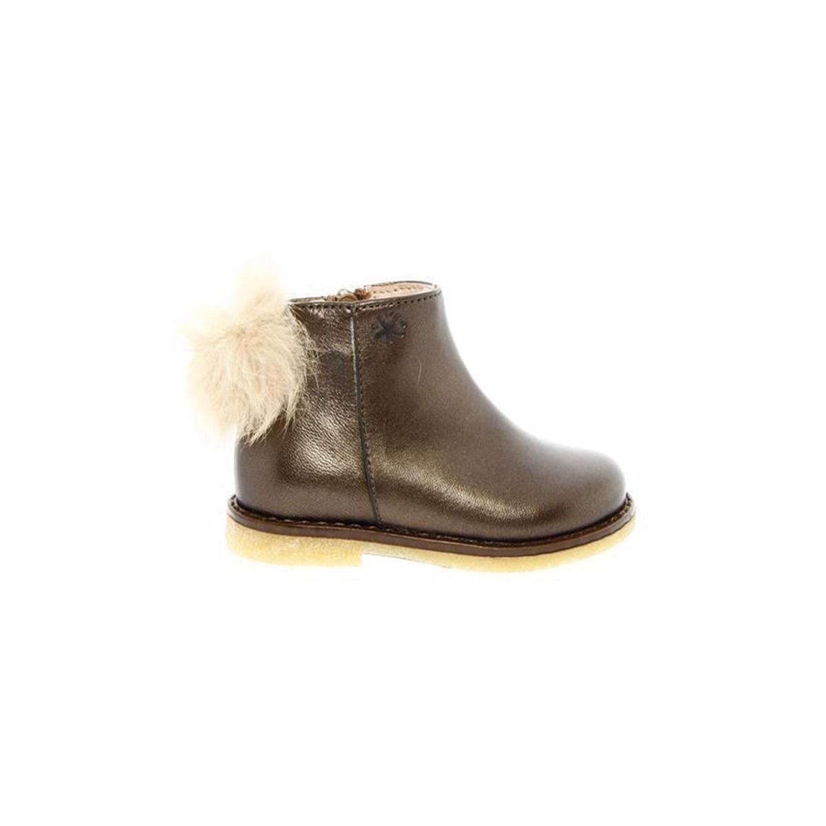 Boots Acebos Pompon cuir gris