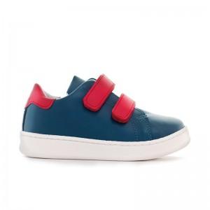 Basket Moonwalk cuir bleu marine/rouge