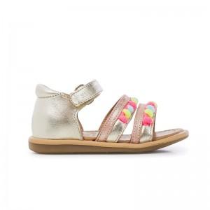 Sandale Tity New Pompon Platine/FluoRose