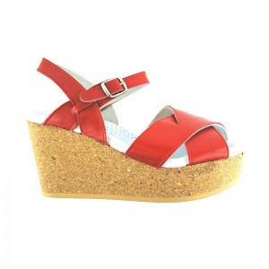 Sandale Worishofer Wedge croisée rouge