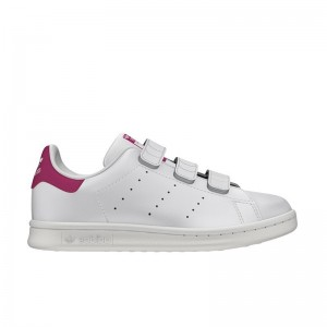 Basket Stan Smith velcros blanc/rose