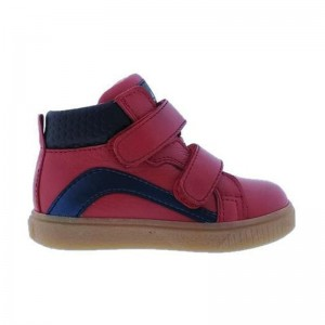 Basket Acebos cuir montante bi color Rouge