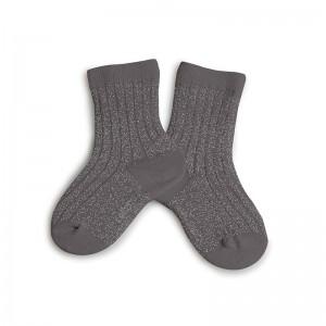 Chaussettes lurex gris orage