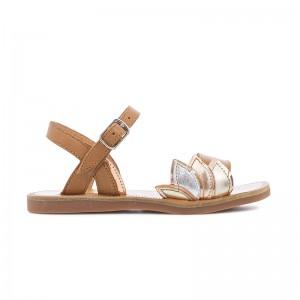 Sandale Plagette Lotus platine