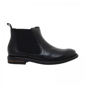 Boots élastique large cuir noir