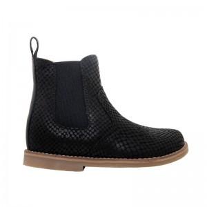 Boots élastique en cuir noir